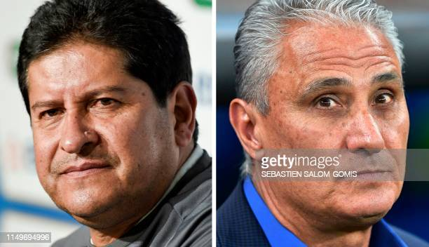 Composition made with file pictures of Bolivia's coach Eduardo Villegas offering a press conference on the eve of a friendly match against France at...