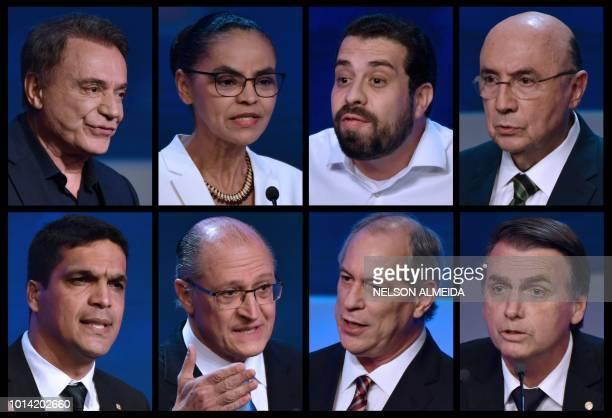 Composition made with pictures of Brazilian presidential candidates Alvaro Dias Marina Silva Guilherme Boulos Henrique Meirelles and Cabo Daciolo...