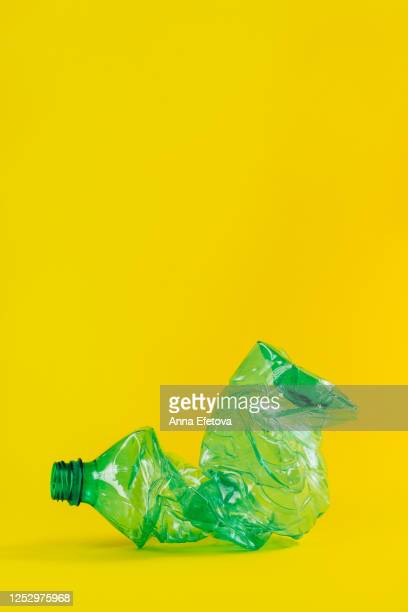 composition of crumpled plastic bottles - sculpture stock pictures, royalty-free photos & images
