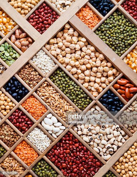 composition of grain, seeds and  legumes - legume family stock pictures, royalty-free photos & images