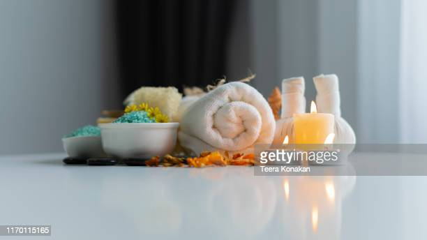 composition of spa and wellness products on table background - 健康スパ ストックフォトと画像