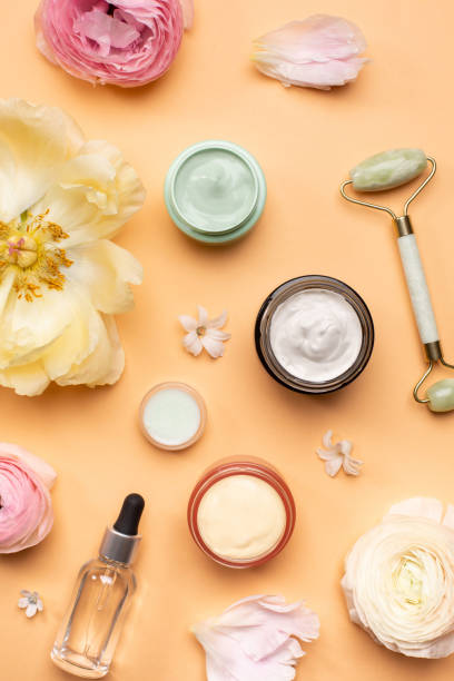 Composition of spa supplies and flowers
