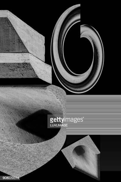 composition with stone ornaments. - zweidimensionale form stock-fotos und bilder