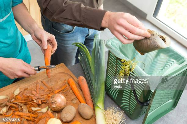 tray for organic waste Vegetable peelings and waste in a bin