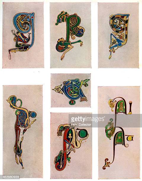 Compound letters 800 AD A 20thcentury copy of the illustrated manuscript produced by Celtic monks around AD 800 Illustration from The Book of Kells...