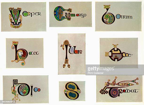 Compound letters, 800 AD, . A 20th-century copy of the illustrated manuscript, produced by Celtic monks around AD 800. Illustration from The Book of...