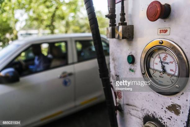A compressed natural gas pressure gauge is seen on a fuel bowser an Indraprastha Gas Ltd gas station in New Delhi India on Wednesday May 17 2017...