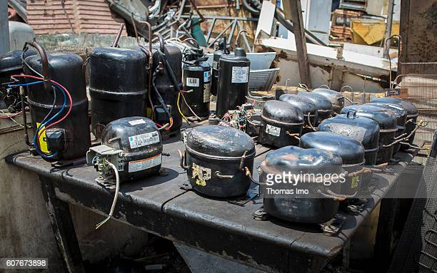 Compressors of demounted refrigerators on the biggest electronic scrap yard in Agbogbloshie a district in Ghana's capital on September 09 2016 in...