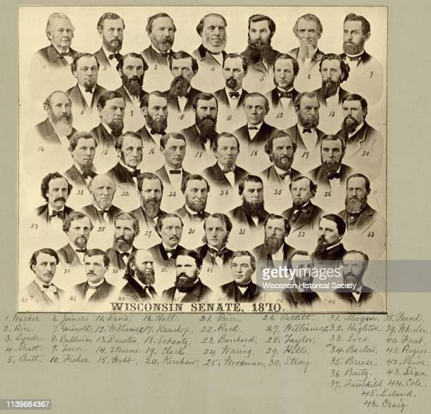 Compsite photograph of the Wisconsin Senate with members identified with key Madison Wisconsin 1870 The portraits are numbered left to right starting...