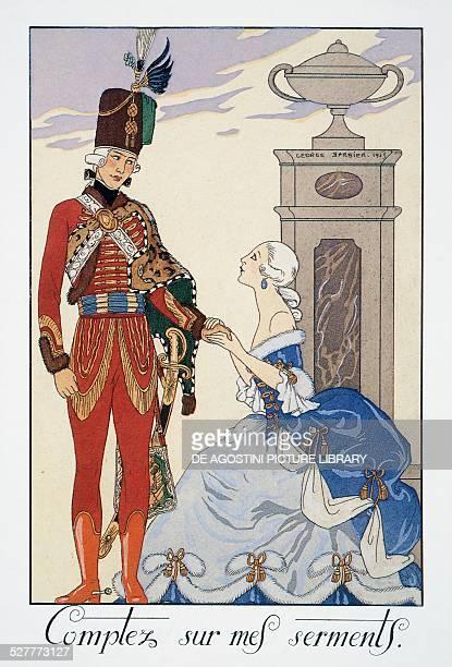 Comptez sur mes serments , Hungarian hussar, lithograph by George Barbier , from Falbalas et Fanfreluches, Almanach des Modes Presentes, Passees et...
