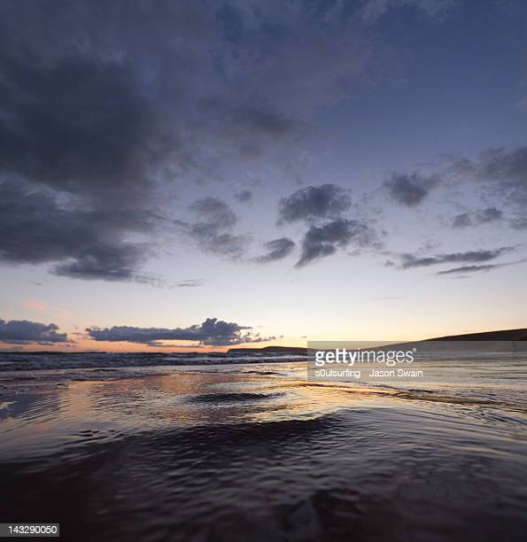 compton bay at dusk - compton bay isle of wight stock pictures, royalty-free photos & images