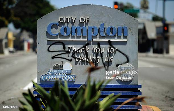 Compton city sign is tagged with graffiti on July 19 2012 in Compton California The City of Compton located south of Los Angeles with a population of...