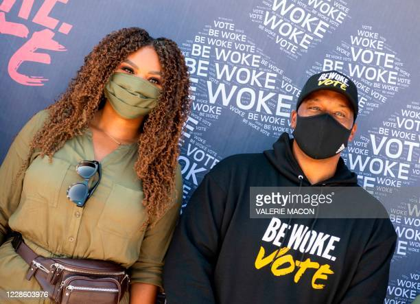 Compton Mayor, Aja Brown and Film director and co-founder of Bewoke Vote, Deon Taylor pose during the Gen-Z Drive Up Voter Registration Event...
