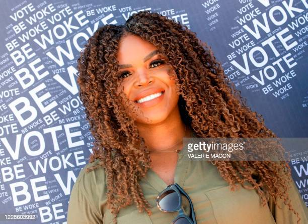 Compton Mayor, Aja Brown, poses during the Gen-Z Drive Up Voter Registration Event organized by BeWoke Vote, September 19 in Compton, California.