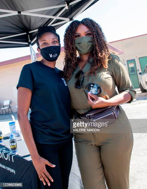 Compton Mayor, Aja Brown poses with a BeWoke Vote during the Gen-Z Drive Up Voter Registration Event organized by BeWoke Vote, September 19 in...