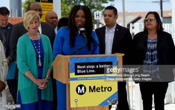 Compton Mayor Aja Brown speaks during a Metro press conference to announce the completion of construction improvements to the southern portion of the...