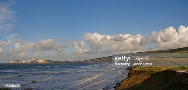 compton panorama. an isle of wight landscape - compton bay isle of wight stock pictures, royalty-free photos & images