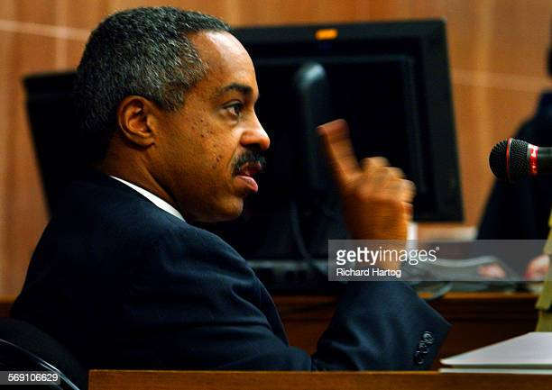 Compton Unified School Board member Basil Kimbrew , makes a point during his testimony in court at the at the Los Angeles County Courthouse, Tuesday...
