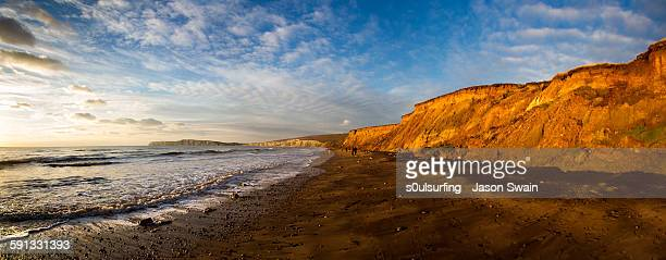 compton winter panorama - isle of wight stock photos and pictures