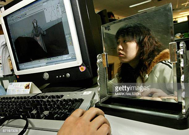 A computer animation designer at work in the studios of the Zhongnan Animation studios in Hangzhou 28 March 2006 The Chinese owned company began as a...