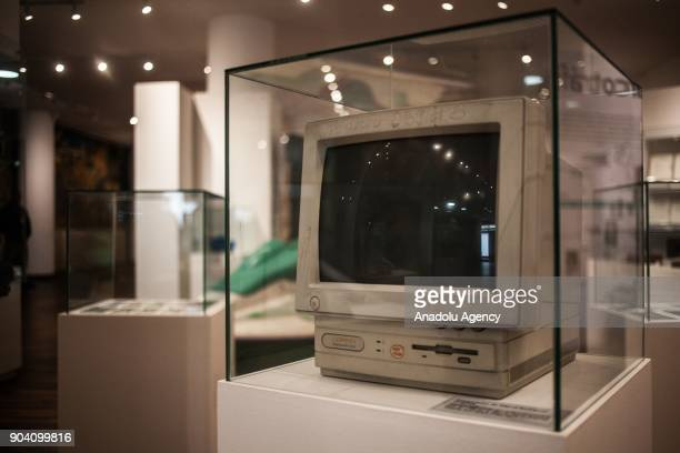A computer belonged to Miguel Rodrguez Orejuela displayed at the exhibition of 'History of the Violence in the Country' in Bogota Colombia on January...