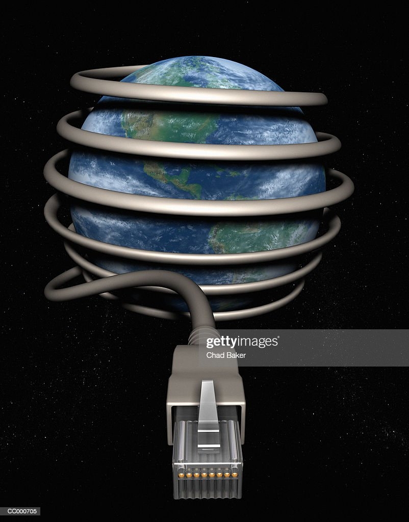 Computer Cable Wrapped Around Earth : Stock Photo