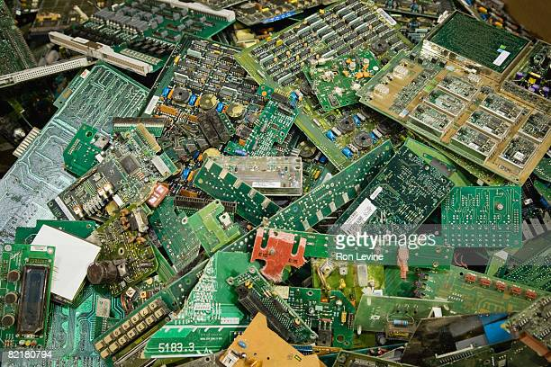 Computer Chip boards in recycling plant