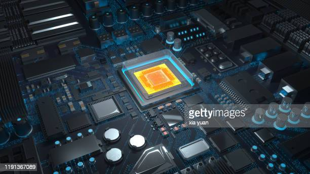 computer chip with circuit board - electronics stock pictures, royalty-free photos & images