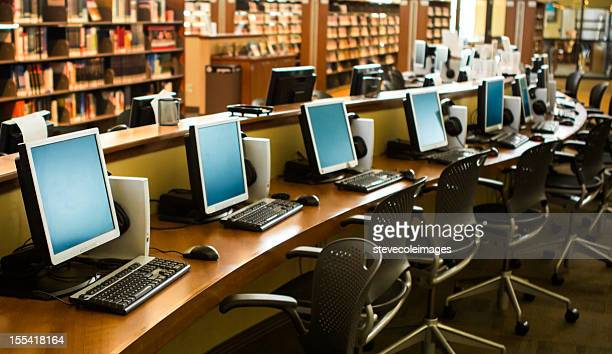 computer classroom - library stock photos and pictures