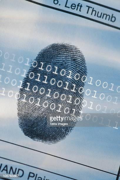 Computer code over thumbprint