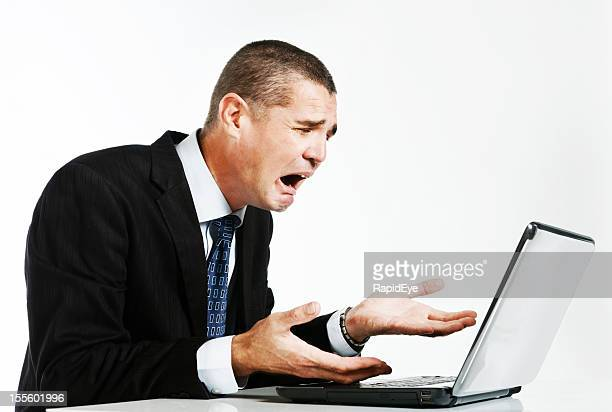 computer crash or bad news has really upset this businessman - error message stock pictures, royalty-free photos & images