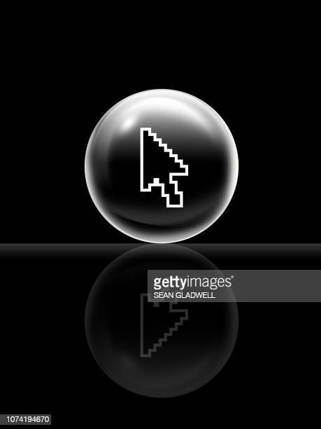 computer cursor in sphere - cursor stock pictures, royalty-free photos & images