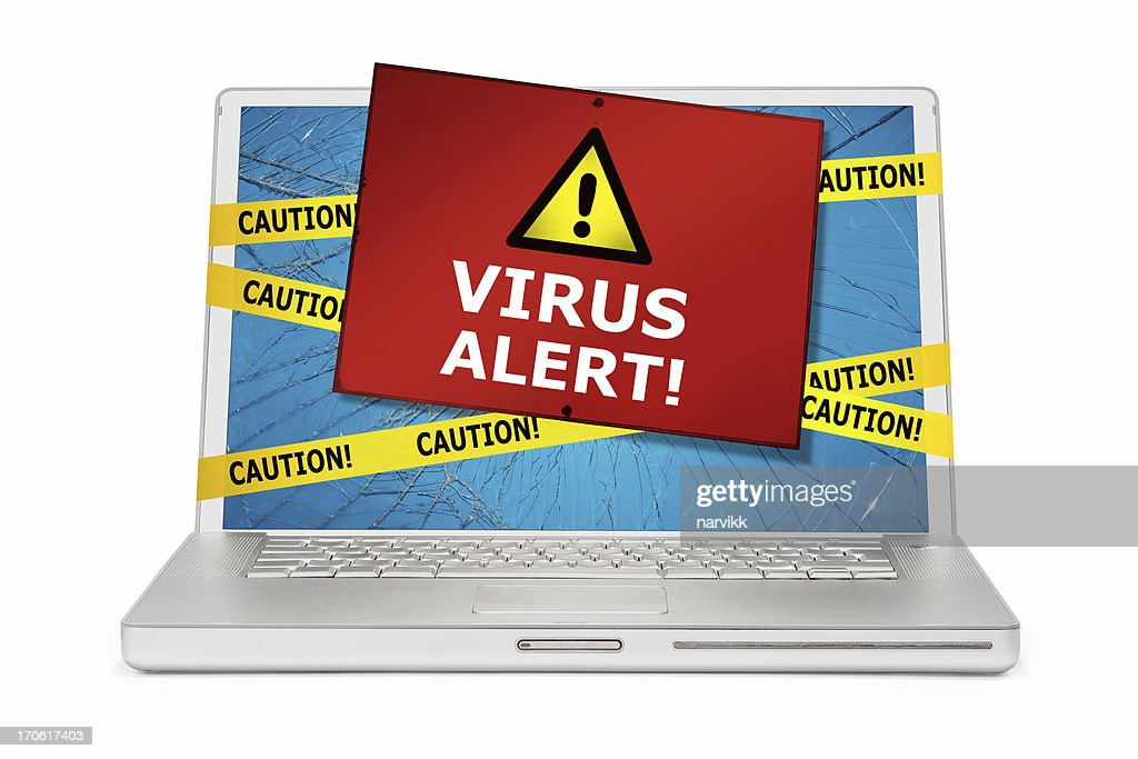 Computer Damaged by Virus : Stock Photo