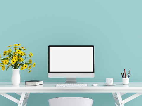 Computer display for mockup on table, 3D rendering 1065383810