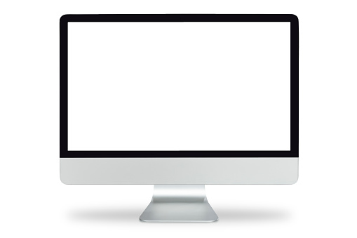 Computer display with blank white screen,