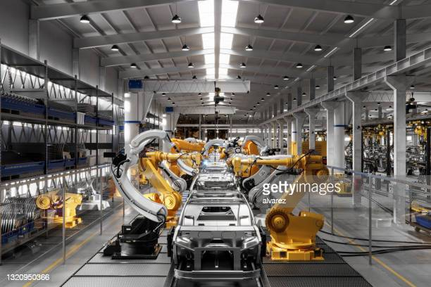 computer generated image of a vehicle manufacturing company - robot stock pictures, royalty-free photos & images