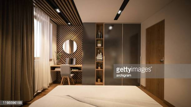 computer generated image of bed room. architectural visualization. 3d rendering - closet stock pictures, royalty-free photos & images