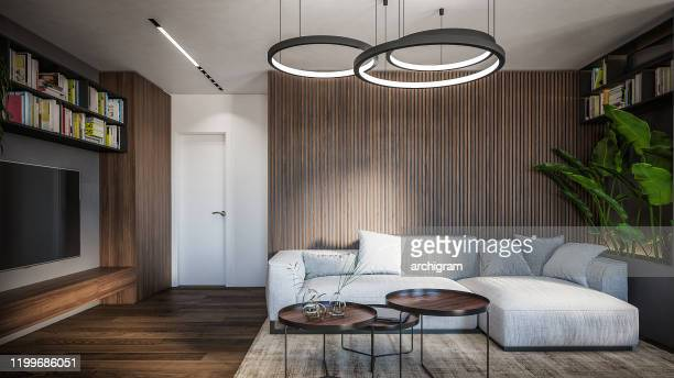 computer generated image of living room. architectural visualization. 3d rendering. - architectural feature stock pictures, royalty-free photos & images