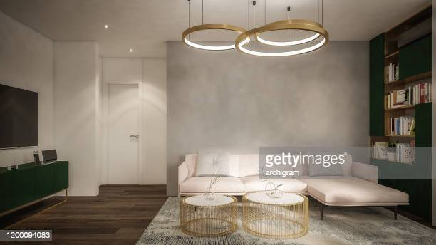 computer generated image of living room. architectural visualization. 3d rendering. - dining room stock pictures, royalty-free photos & images