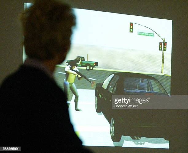 Computer generated reenactment of murder of Moorpark College student Megan Barroso is projected on screen as Ventura County Chief Deputy District...