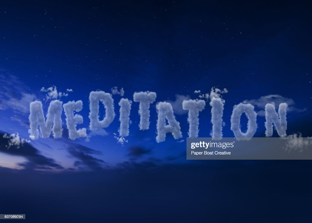 Computer generated typeface forming the word meditation, exhibited in a dark yet calm way, with a dark and quiet night sky as a background : Stock Photo