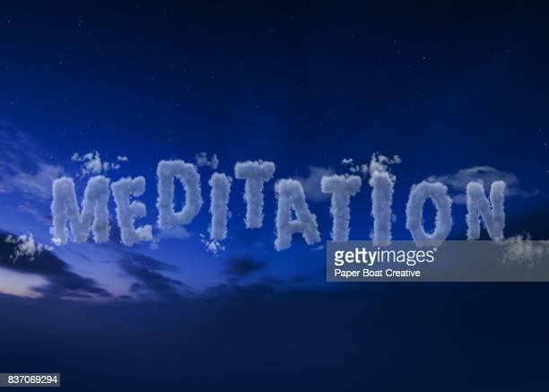 computer generated typeface forming the word meditation, exhibited in a dark yet calm way, with a dark and quiet night sky as a background - typographies stock photos and pictures