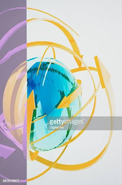 computer graphic of arrows circling globe - curved arrows - fotografias e filmes do acervo