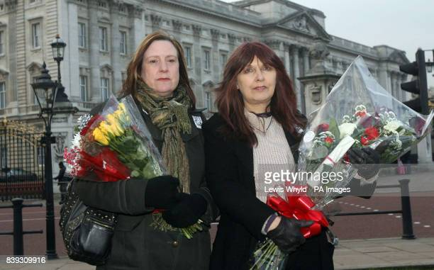 Computer hacker Gary McKinnon's mum Janis Sharp with his girlfriend Lucy Clark with a letter and flowers they plan to give to the Queen