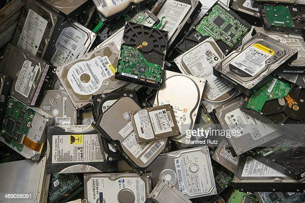 Computer hard disks electronic scrap collected