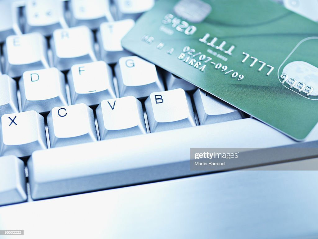 Computer keyboard and credit card : Stock Photo