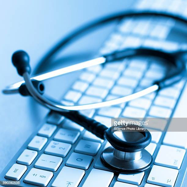 Computer keyboard and stethoscope