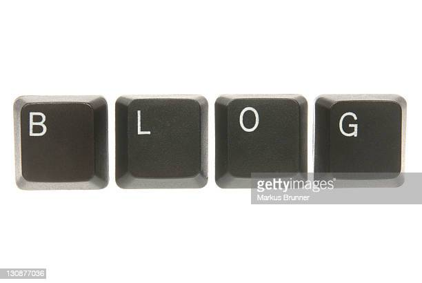 computer keyboard keys spelling the word blog - captions stock photos and pictures