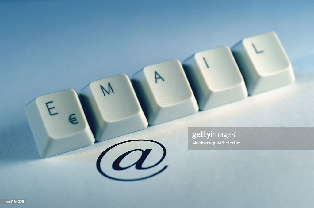 Computer keyboard keys spelling the word email : Stock Photo