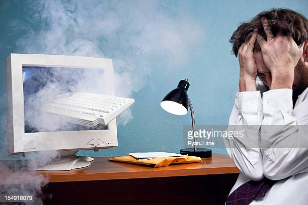 computer keyboard smashed through monitor - smoking crack stock photos and pictures